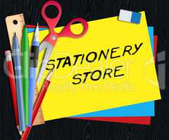 Stationery Store Means Office Supplies Shops 3d Illustration
