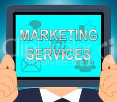 Marketing Services Tablet Shows Promotion Offers 3d Illustration