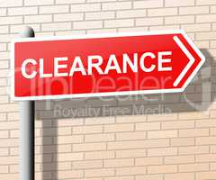 Clearance Sign Indicates Promotional And Offers 3d Illustration