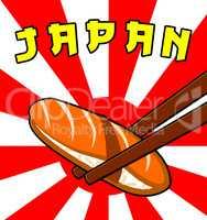 Japan Sushi Shows Japanese Cuisine 3d Illustration