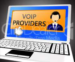 Voip Providers Showing Internet Voice 3d Illustration