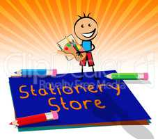 Stationery Store Displays Office Supplies Shops 3d Illustration