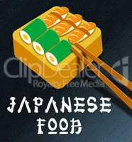 Japanese Food Showing Japan Cuisine 3d Illustration