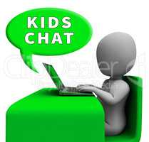 Kids Chat Showing Child Messenger 3d Rendering