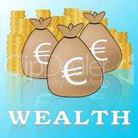 Euro Wealth Means European Currency 3d Illustration
