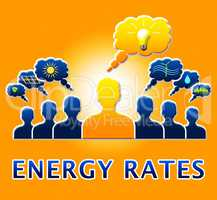 Energy Rates Showing Electric Power 3d Illustration