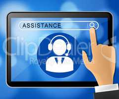 Assistance Tablet Represents Assisting Customers 3d Illustration