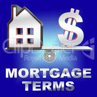 Mortgage Terms Representing Housing Loan 3d Rendering