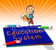 Education System Displays Schooling Organization 3d Illustration