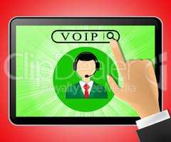 Voip Tablet Represents Internet Voice 3d Illustration