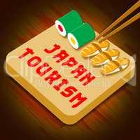 Japan Tourism Represents Japan Cuisine 3d Illustration