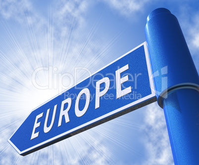 Europe Sign Meaning Euro Zone 3d Illustration