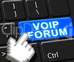Voip Forum Key Showing Internet Voice 3d Illustration