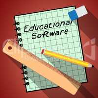 Educational Software Represents Learning Application 3d Illustra