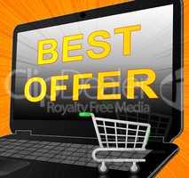 Best Offer Laptop Shows Top Deal 3d Illustration