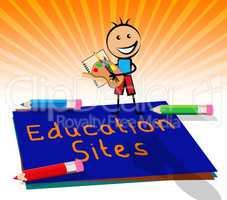 Educational Sites Representing Learning Websites 3d Illustration