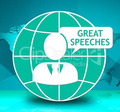 Great Speeches Icon Showing Best Talks 3d Illustration