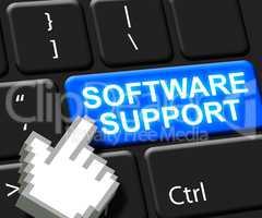 Software Support Key Shows Online Assistance 3d ILlustration
