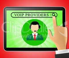 Voip Providers Tablet Represents Internet Voice 3d Illustration