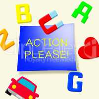 Action Please Message Showing Doing 3d Illustration