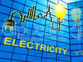 Electricity Lightbulb Means Electrical Power 3d Illustration