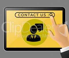 Contact Us Tablet Represents Customer Service 3d Illustration