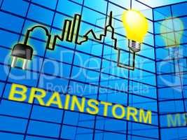 Brainstorm Lightbulb Means Dream Up 3d Illustration