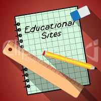 Educational Sites Notebook Shows Learning Sites 3d Illustration