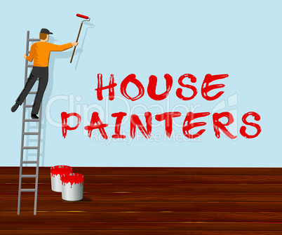 House Painters Shows Home Painting 3d Illustration