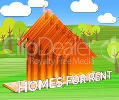 Homes For Rent Shows Real Estate 3d Illustration
