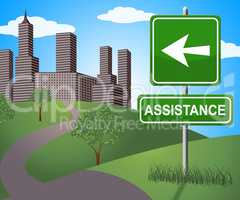 Assistance Sign Represents Assisting Customers 3d Illustration