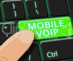 Mobile Voip Key Shows Broadband Telephony 3d Illustration