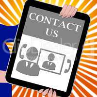 Contact Us Tablet Means Customer Service 3d Illustration
