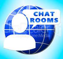 Chat Rooms Showing Internet Messages 3d Illustration