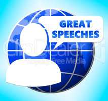 Great Speeches Icon Shows Best Talks 3d Illustration