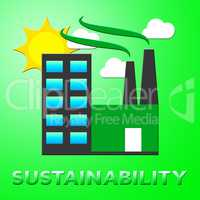 Sustainability Factory Means Eco Recycling 3d Illustration