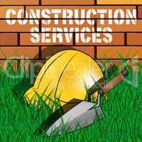 Construction Services Represents Building Work 3d Illustration