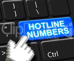 Hotline Numbers Key Shows Online Help 3d Illustration