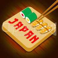 Japan Sushi Assortment Shows Japanese Cuisine 3d Illustration