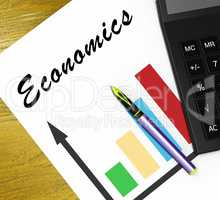 Economics Graph Shows Fiscal And Economizing 3d Illustration