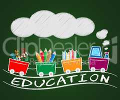 Education Train Indicates Learn Tutoring 3d Illustration