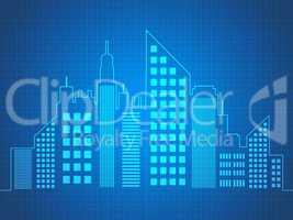 Skyscraper Buildings Describes Offices Cityscape 3d Illustration