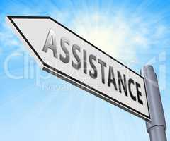 Assistance Sign Displaying Assisting Customers 3d Illustration