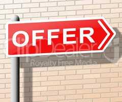 Offer Sign Shows Bargain Prices 3d Illustration