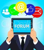 Forum Online Represents Social Media 3d Illustration