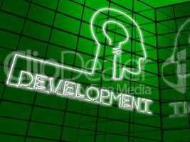 Development Lightbulb Meaning Growth Progress 3d Illustration