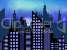 Skyscraper Buildings Representing Offices Cityscape 3d Illustrat