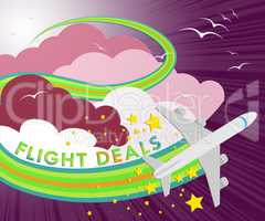 Flight Deals Means Airplane Sale 3d Illustration