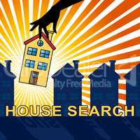 House Search Indicates Housing Residence 3d Illustration