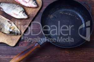 Three fresh carp fish, next to a black cast-iron frying pan